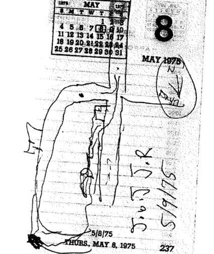 A small map that John W. Jones Jr. drew for Dennis Rafferty of where he had traveled after leaving the party. Jones signed and initialed the map and a crime scene photo.
