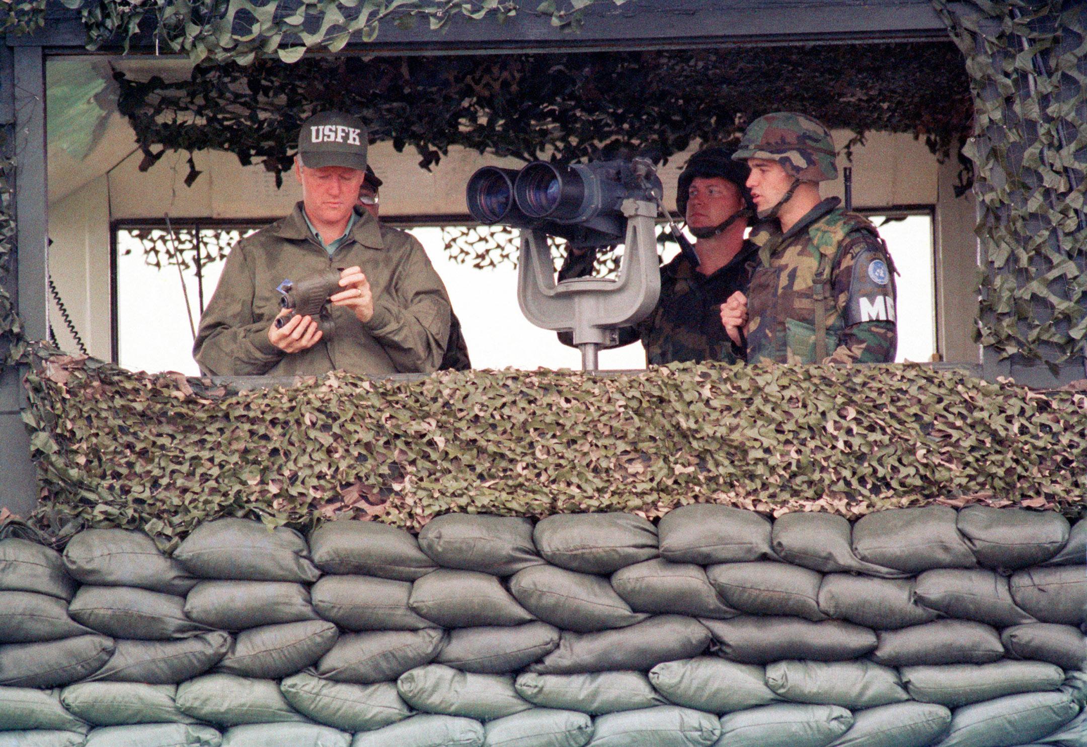 Bill Clinton in Panmunjom in the Demilitarized Zone