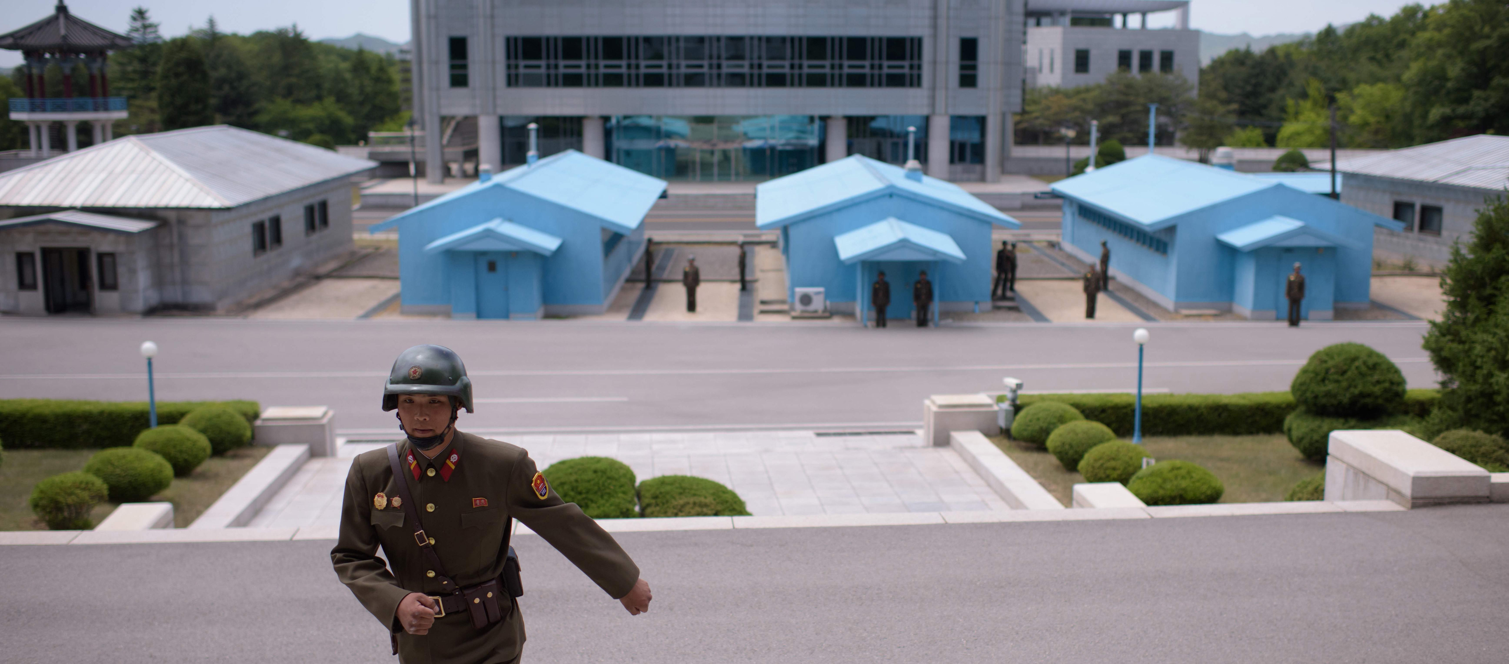 The three blue huts in Panmunjom in the Demilitarized Zone