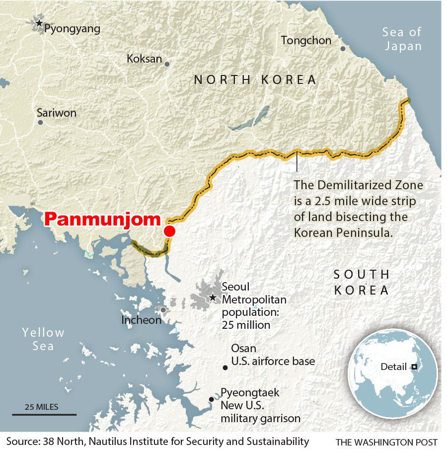 Map showing Panmunjom in the Demilitarized Zone
