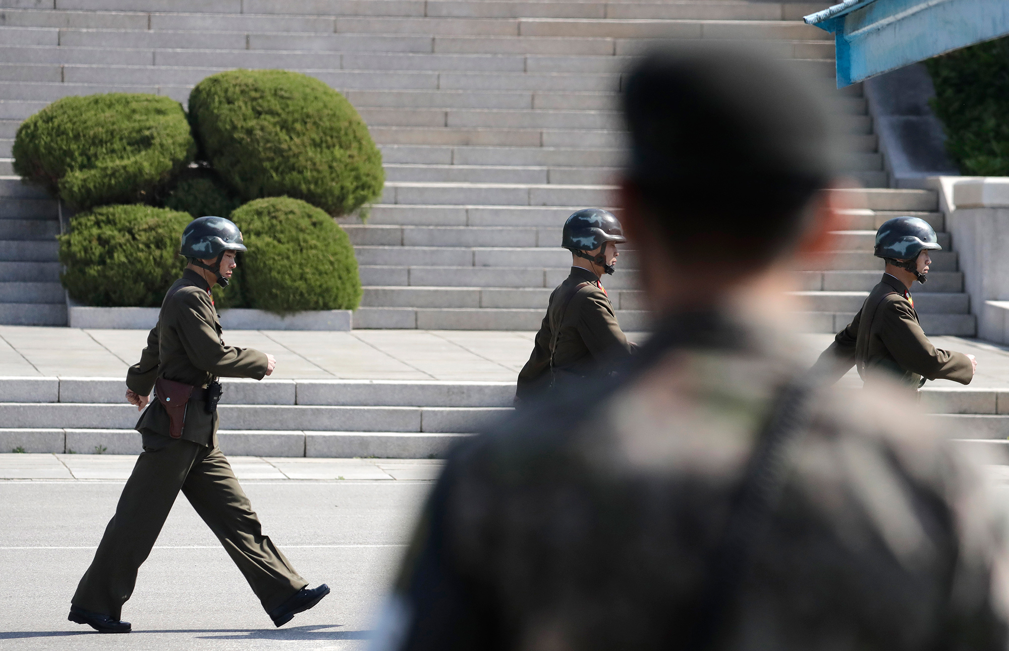 Soldiers march in Panmunjom in the Demilitarized Zone